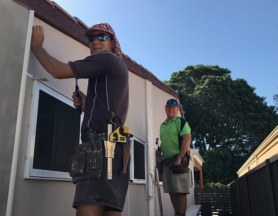 Our carpenter Anthony and Ralph the builder working on a garage extension to a home in City Beach.