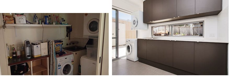 There's nothing like a Before and After picture to demonstrate the transformation from the very frustrating original laundry, to the sparkling new, practical laundry!